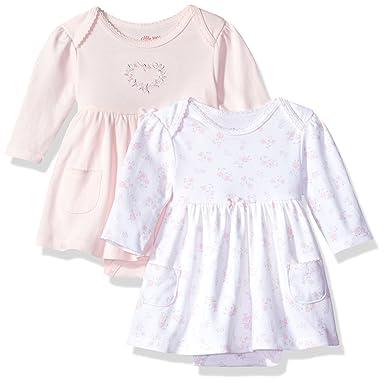 ca1dd0a2263a Amazon.com  Little Me Baby Girls  Newborn 2 Pack Bodysuit Dress ...