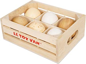 Le Toy Van - Wooden Honeybee Market Farm Eggs Half Dozen Crate | Perfect for Supermarket, Food Shop or Cafe Pretend Play | Great As A Gift (TV190)