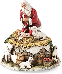 Joseph's Studio by Roman - Santa with Baby Jesus and Lambs Figure, Kneeling Santa Collection, Verse - O' Come All Ye Faithful, 5.75