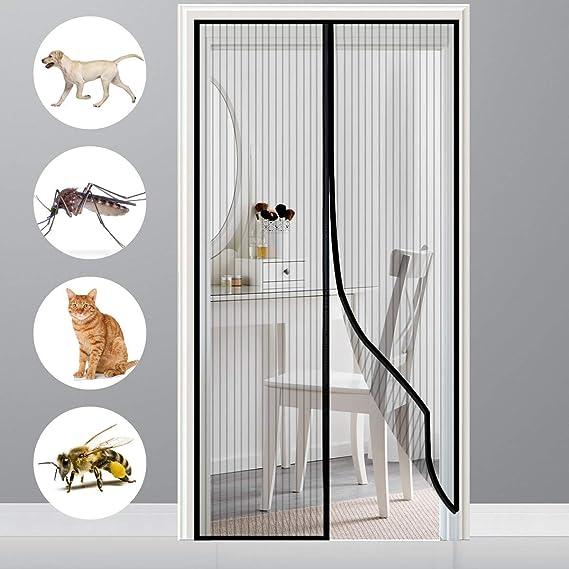 GOUDU Moustiquaire sur Mesure de Porte Brown 70x190cm Moustiquaire sur Mesure Anti Insecte Mouche Moustique Fermeture Automatique pour Couloirs Portes Patio