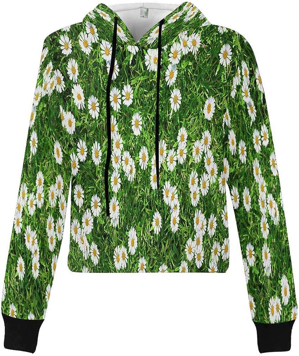 INTERESTPRINT Women Long Sleeve Pullover Hooded Sweatshirt Casual Loose Crop Top Shirt XS~2XL