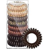 Kitsch Spiral Hair Ties, Coil Hair Ties, Phone Cord Hair Ties, Hair Coils - 8 Pcs, Brunette