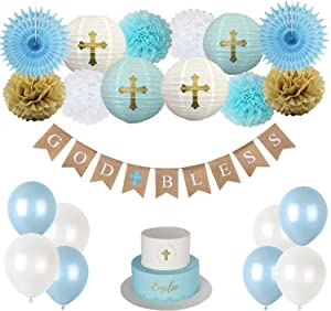 CHRORINE Baptism Decorations for Boys, First Communion Confirmation Decorations, God Bless Banner and Blue Party Decorations - Blue Set