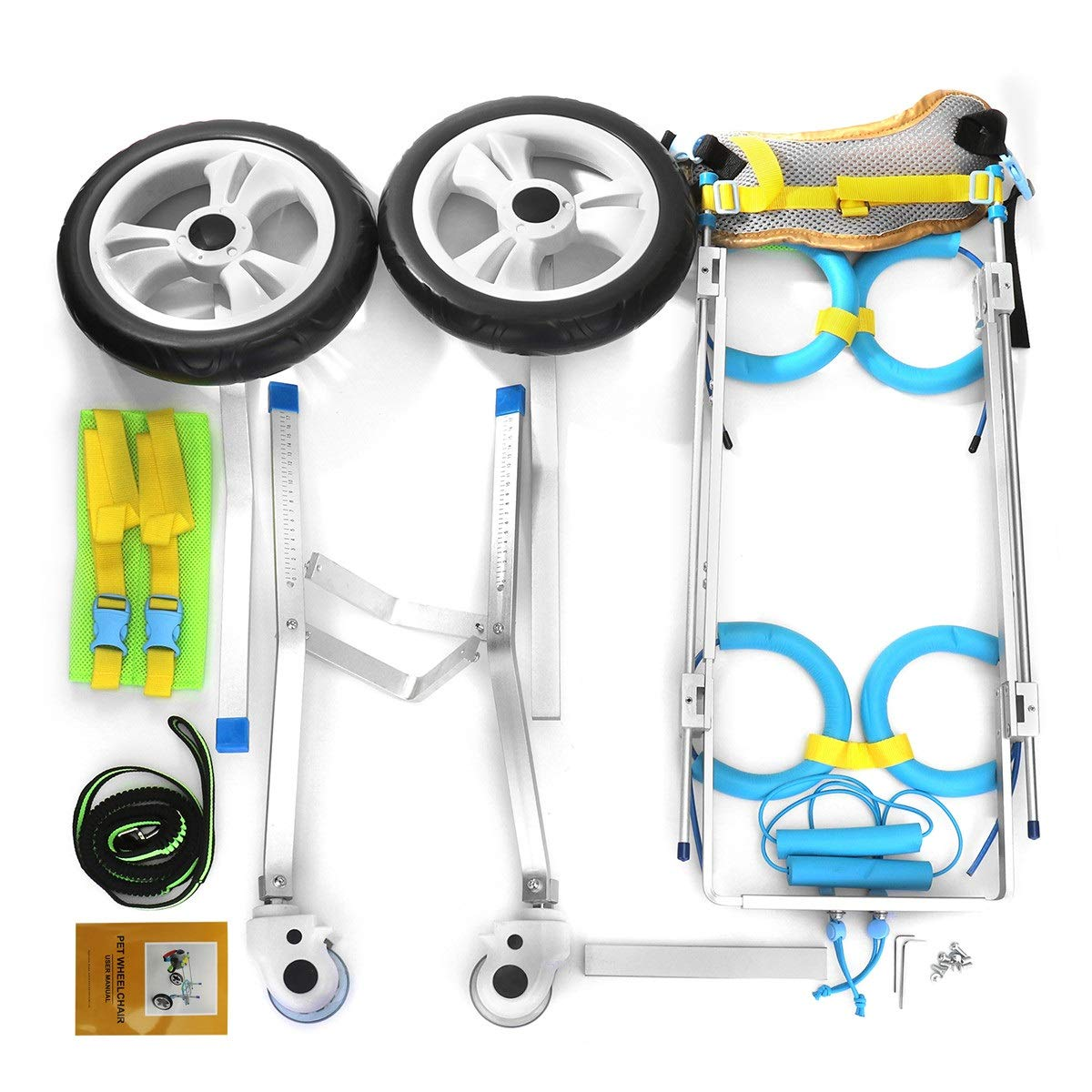 AnnCWLY Carro De Aluminio para Silla De Ruedas para Mascotas, para Discapacitados, Perro, Perro, Patas Traseras Andar 4 Ruedas Ajustable Portátil Llevar ...