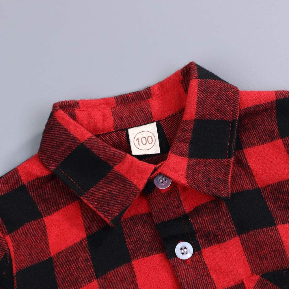 Kids Little Boys Girls Baby Long Sleeve Button Down Red Plaid Flannel Shirt Plaid