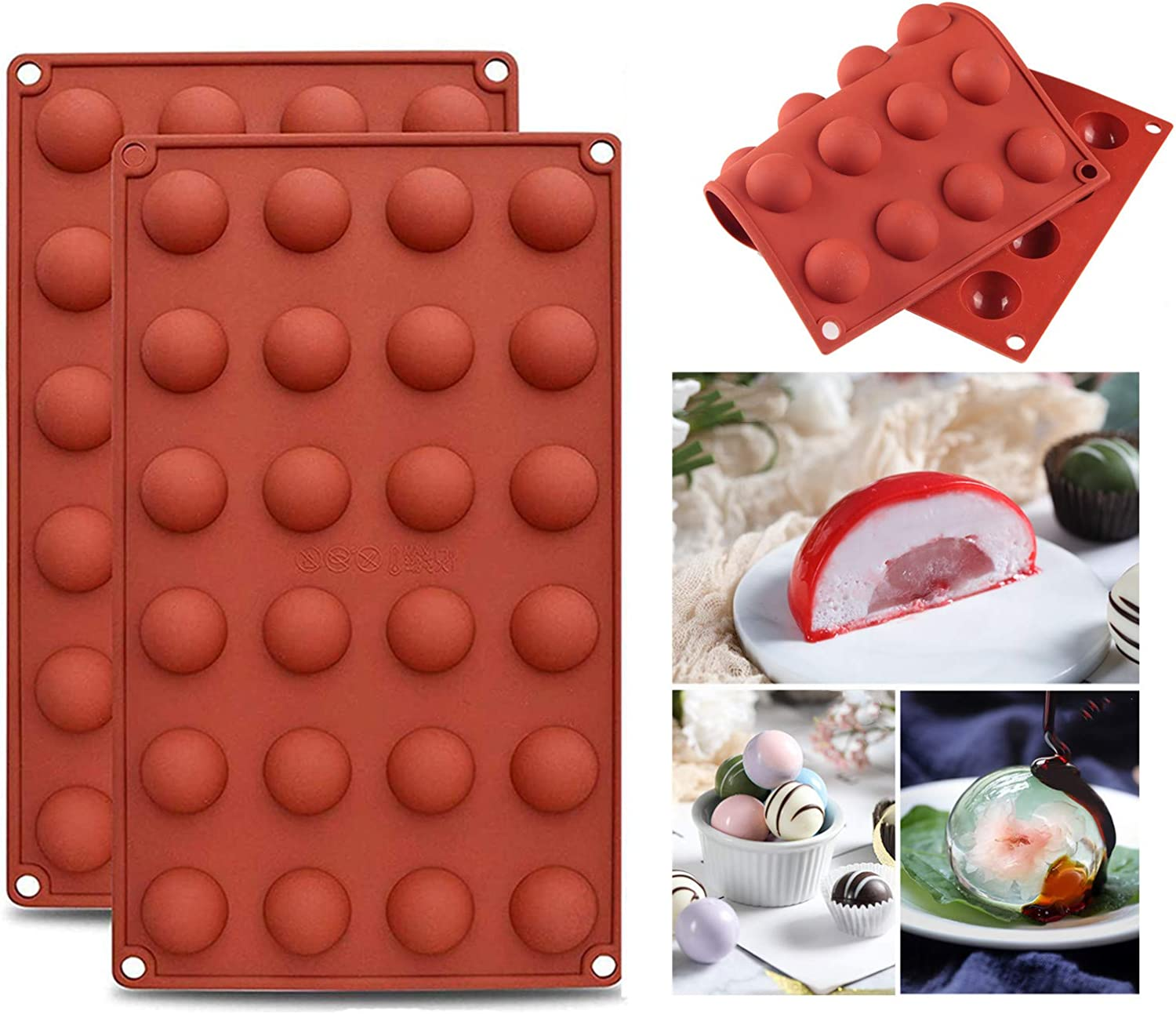 Luckgy 2PCS Silicon Chocolate Mold Mini Hemisphere Half Round Shapes 24 holes For Candy, Chocolate, Jello, Jelly, Gummy, Non-Stick 2 Packs Round Molds, Semicircle Bakeware Set.