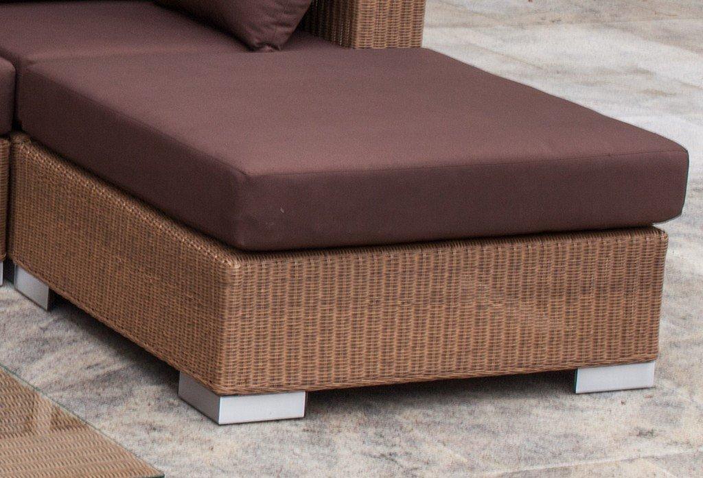 STERN Lounge-Hocker Avola mit Geflecht Natur antik und Kissen 100% Polyester Dessin braun