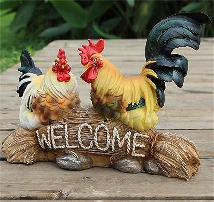 Amazon.com: danmu poliresina Gallina y gallo animales de ...