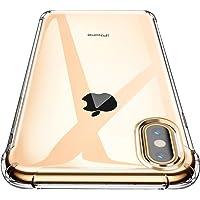 """Garegce Coque iPhone XS Max - Souple Clair TPU Silicone/Housse Bumper, [Cadeau Ecran en Verre Protecteur][Shock-Absorption] Anti-dérapante Cover pour iPhone XS Max-6.5""""- Transparent"""
