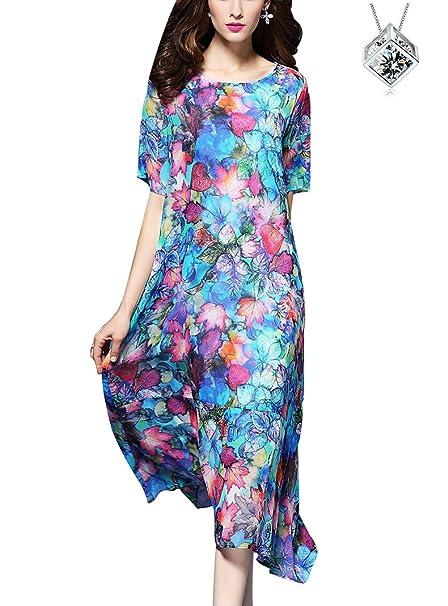 finest selection 5371e d7fa7 Estate Donna Vestiti Vintage Seta Chiffon Vestito Sciolto ...