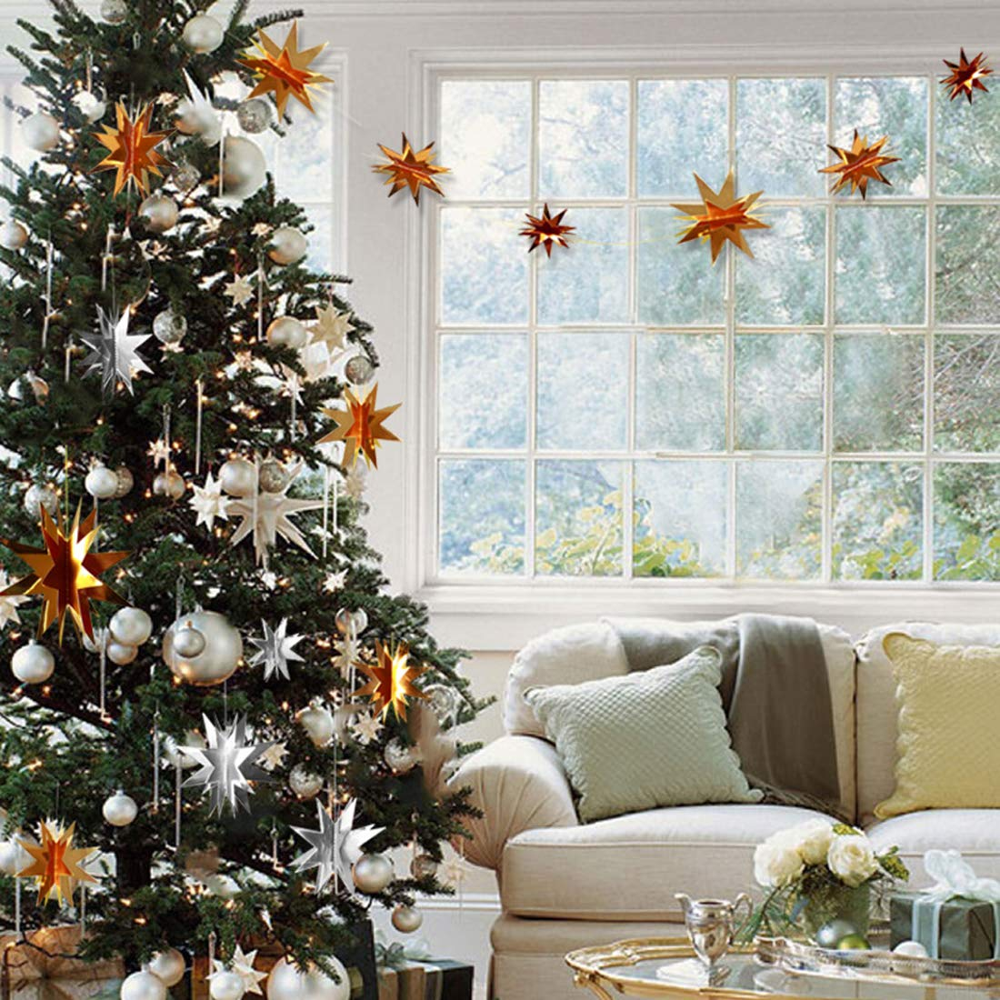 Christmas Tree Decorations 4 PCS 2M Hanging Garland with 6 Stars Gold and Silver Color for Home, Bedrooms, Dining Rooms, Hotel, Office, Show Window and Outdoor Garden Xmas Holiday Party Supplies