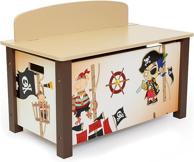 Homestyle4u niños de Juguete Caja de almacenaje con diseño de Pirata, Madera, Multicolor, 30 x 30 x 30 cm: Amazon.es: Hogar