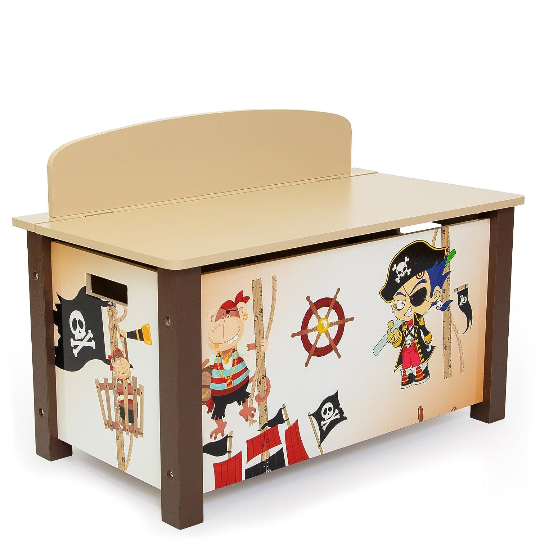 Homestyle4u pour Enfant Jouet Boîte de Rangement avec Motif Pirate, Bois, Multicolore, 30x 30x 30cm HOMESTYLE4U_1115