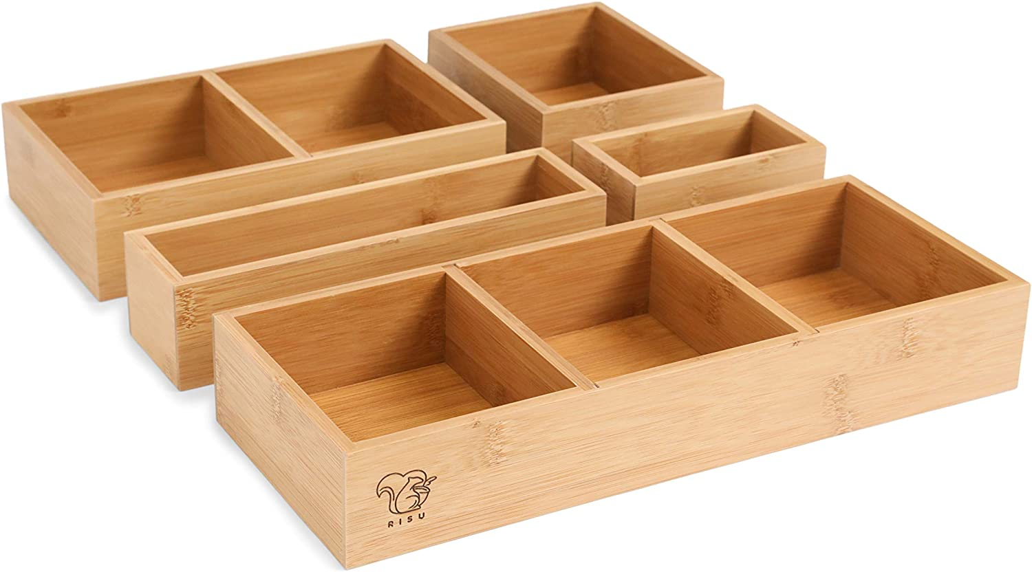 RISU Bamboo Drawer Organizer: Storage Boxes for Tidying Up Junk - Multi-Sized Set of 5, Sturdy and Sustainable, Perfect Trays for Office Supplies, Make-Up Cosmetics and Kitchen Utensils