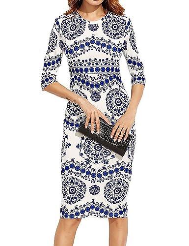 Locryz Womens Procelain Print Pencil Dress