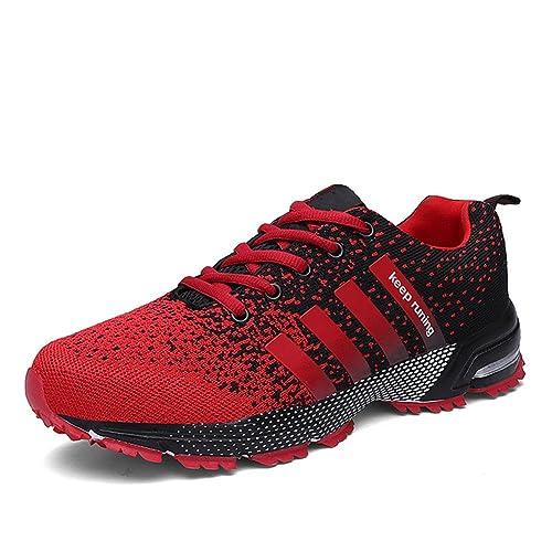 7ca79606d5493 Chaussures de course running sport Compétition Trail entraînement homme  femme basket ete baskets Rouge 36