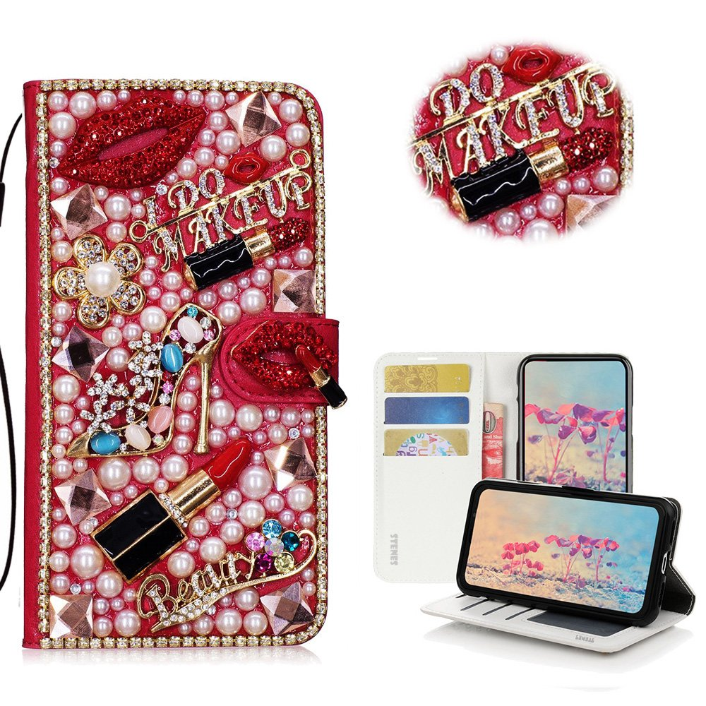 STENES LG Q Stylus Case - Stylish - 3D Handmade Crystal Girls Lipstick High Heel Flowers Magnetic Wallet Credit Card Slots Fold Stand Leather Cover for LG Q Stylus/Q Stylus+/ Q Stylus Alpha - Red
