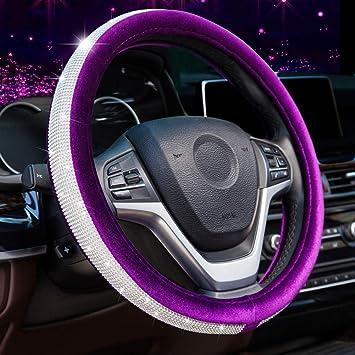 Blue Valleycomfy Crystal Diamond Steering Wheel Cover Soft Velvet Feel Bling Steering Wheel Cover for Women Universal 15 inch Plush Wheel Cover