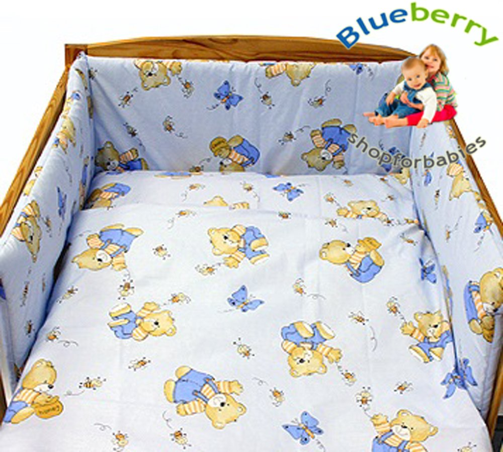 BlueberryShop Duvet, Pillow Covers and Bumper Bedding Set for Baby Cot, Green Bear, 3-Piece Blueberry Shop for Babies 50022003