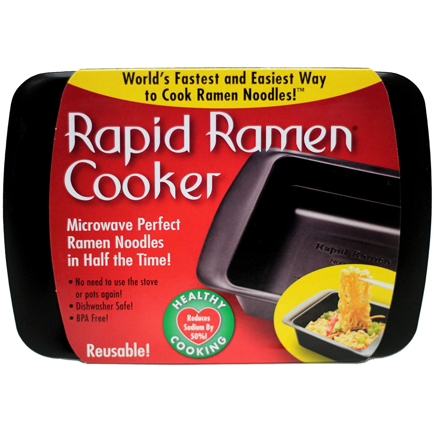 Rapid Ramen Cooker - Microwave Ramen in 3 Minutes - BPA Free and Dishwasher Safe - Black