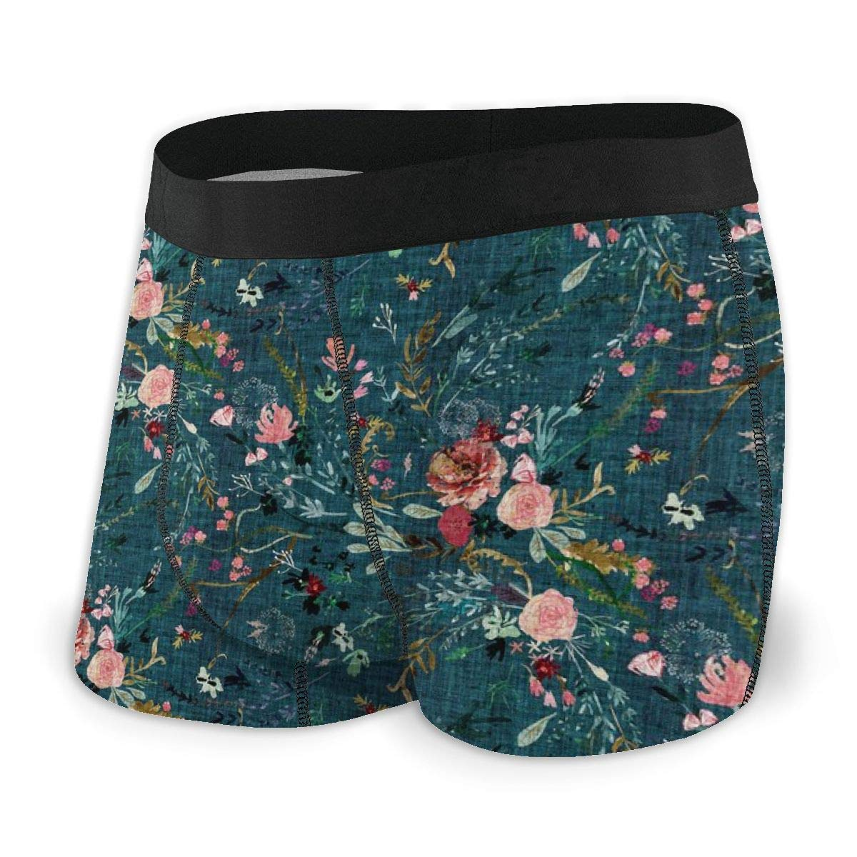 Teal Mens no Ride-up Boxer Briefs,Fable Floral Micro/_903