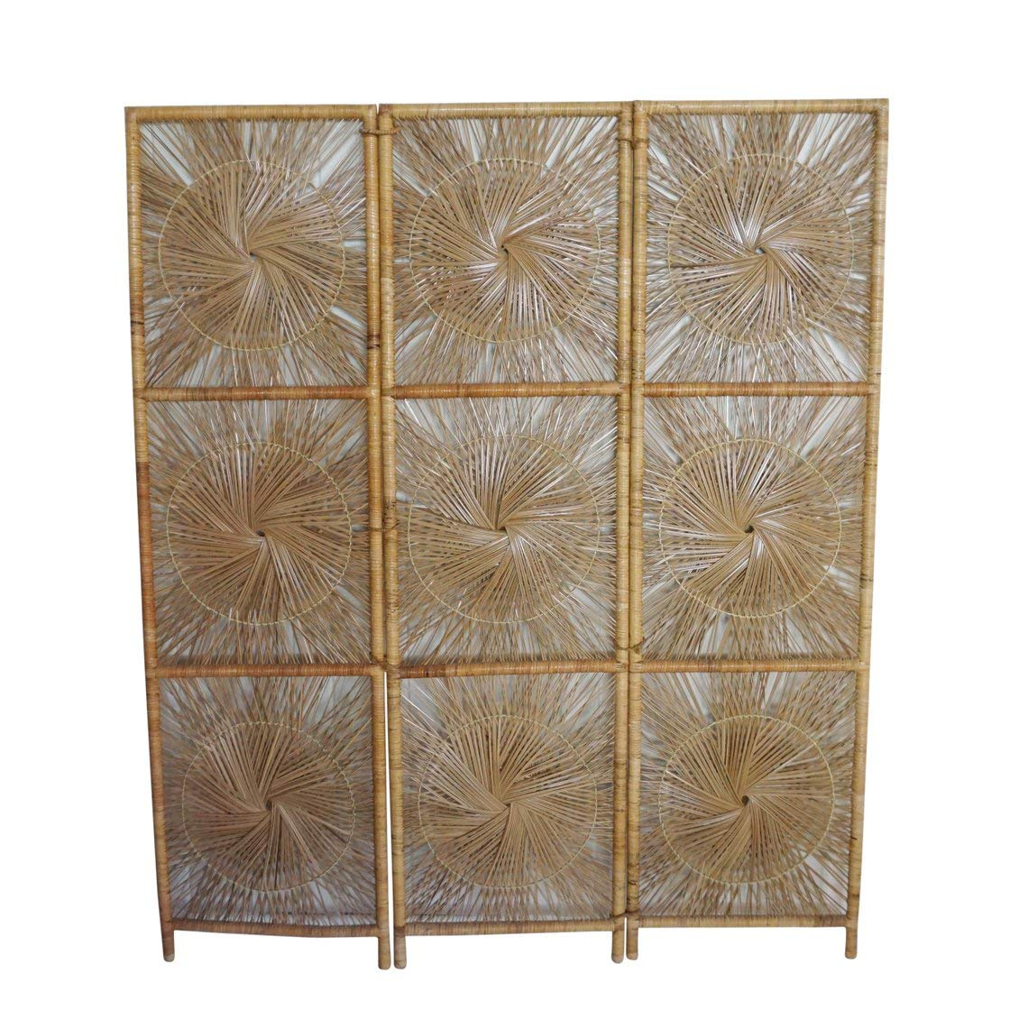 a0e1cdfc12069 Amazon.com - rattan sunburst Vintage Bohemian Wicker Folding Screen 3 Panel  Room Divider