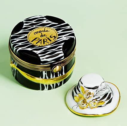 Authentic French Hand Painted Limoges Porcelain Black and White Paris Hat  Box with Hat