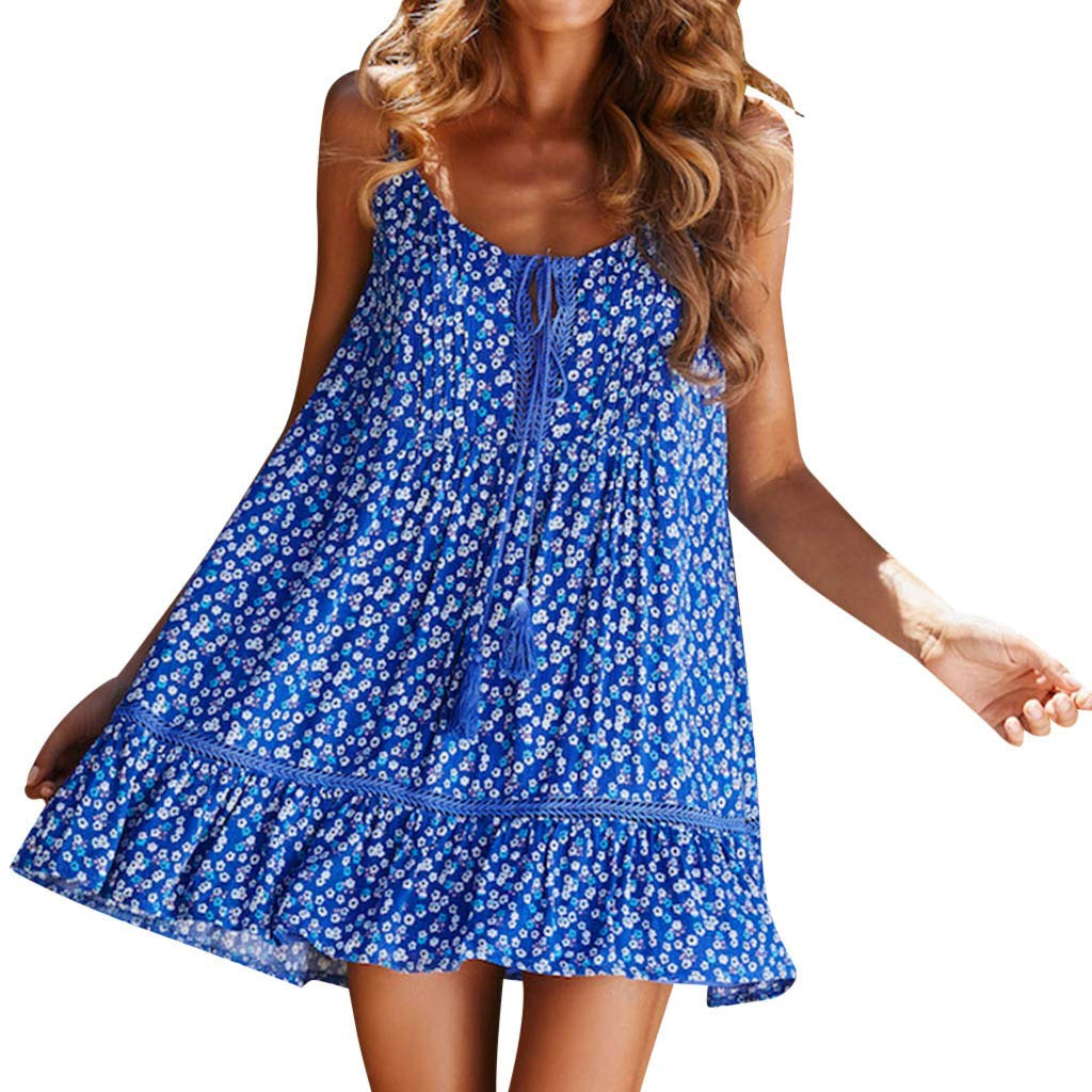 ✔ Hypothesis/_X ☎ Sleeveless Casual Mini Dress Tassel Off Shoulder Dress Boho Swing Dresses Short Floral Print Dress