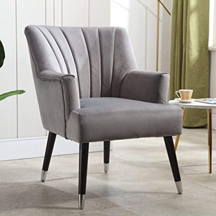 Mia Traditional Armchair - Classic Accent Occasional Chair with Solid  Wooden Legs - Living Room and Bedroom Chair - Velvet (Grey)