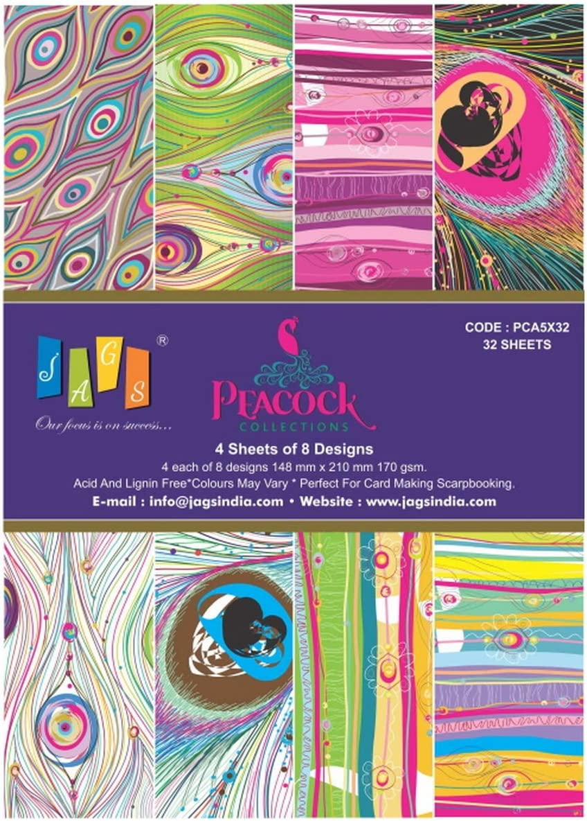 4 Sheets Each of 8 Designs for Making DIY Greetings and Scrapbooking Printed Paper for Crafts 5.8x8.3 Inch JAGS Peacock Collection A5 Pack of 32