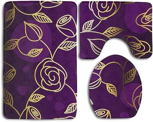 Gold-purple Rose 3 Piece Set Soft Flannel Bathroom Rug U Contour Mat Lid Toilet Cover Non-slip
