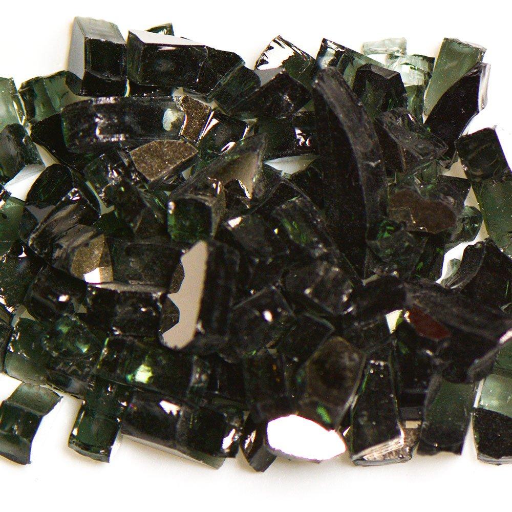 My Fireplace Glass - 10 Pound Terrazzo Chip Fireplace Glass - Size 2, 1/4 - 3/8 Inch, Black Reflective