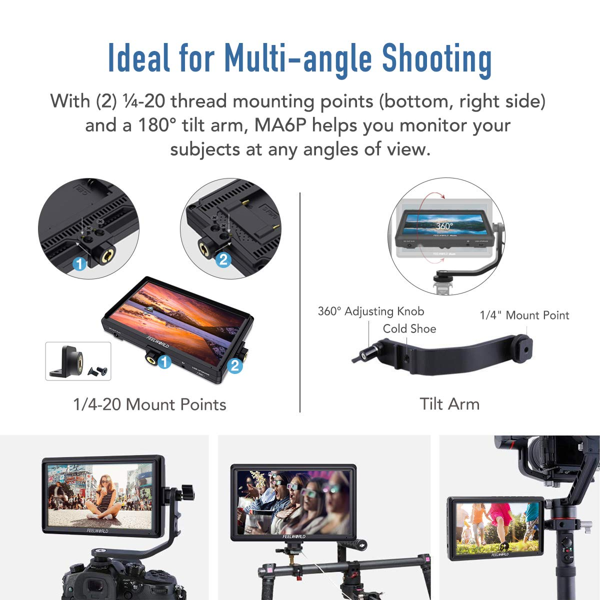 Feelworld Master MA6P DSLR Monitor with 4K HDMI 8.4V DC in/Out, 5.5 Inch Camera Field Monitor Full HD 1920x1080 Peaking Focus Assist Tilt Arm Included by FEELWORLD (Image #5)