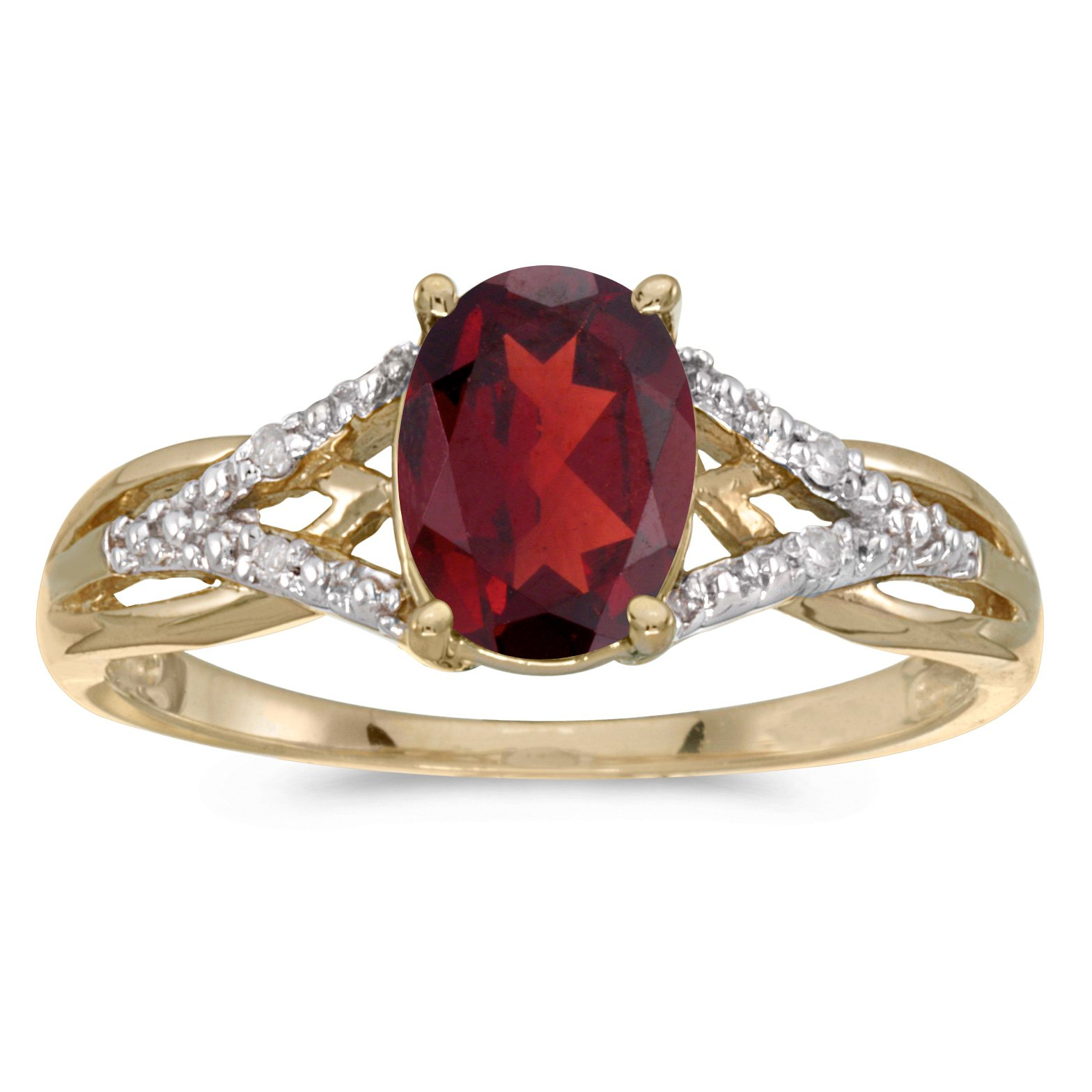 14k Yellow Gold Oval Garnet And Diamond Ring (Size 7.5)