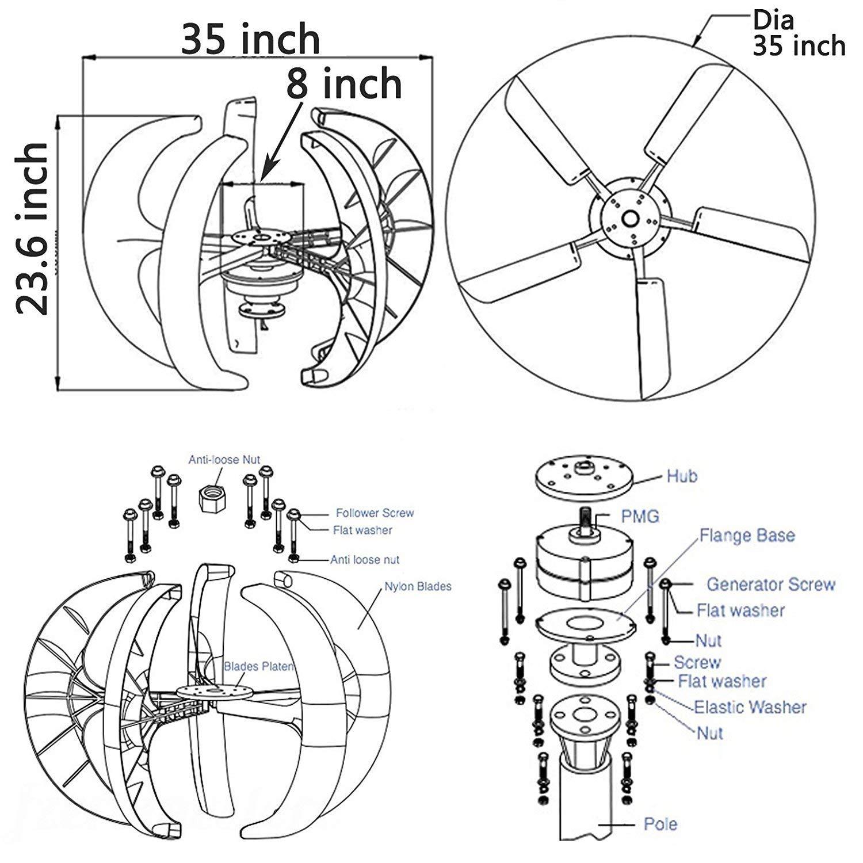 HUKOER Windturbine 400 W 24 V wei/ße Laterne vertikaler Windgenerator 5 Bl/ätter Windturbine Kit mit Laderegler zur Stromzufuhr 1 400w 24v red