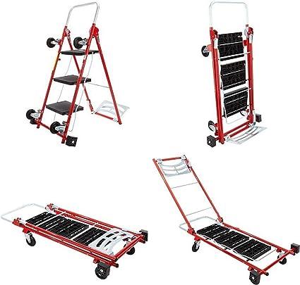 Kerry Kart 4 en 1 carro utilitario rodante, carrito y plataforma móvil con escalera plegable de 3 pasos - Cajas de mudanza, muebles y electrodomésticos con 1 carrito plegable y taburete escalón: