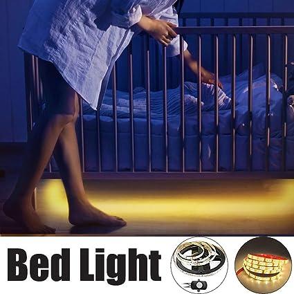 LEBRIGHT Luz de cama activada por movimiento,LED cama tira luz 1.5m flexible tira