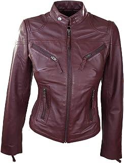 48711c6ff9 Infinity Perfecto Femme Cuir véritable Coupe Slim Style Biker Couleur  Bordeaux