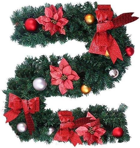 QSM 6Ft / 1.8M Guirnalda De Navidad Escalera Chimenea Decoración De Navidad Guirnalda De Navidad Guirnalda Festiva Arco Rojo,Bola de Navidad: Amazon.es: Deportes y aire libre