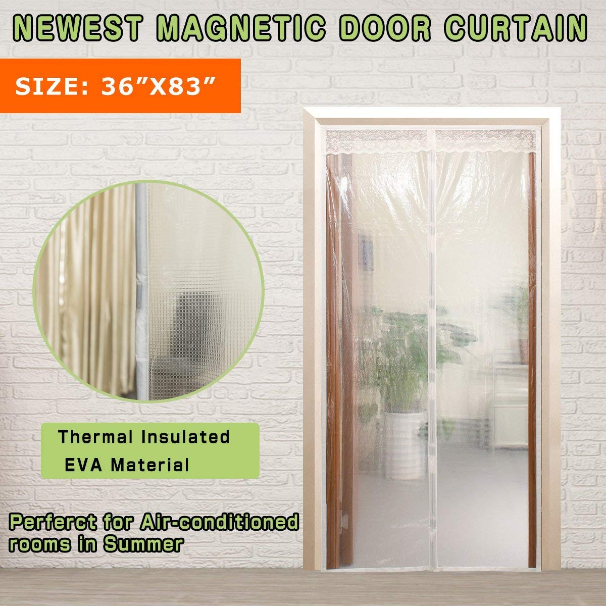 Transparent Magnetic Thermal Insulated Door Curtain Keep Draft And Kitchen Cooking Odor, Magnets Screen Door Fits Doors Up To 36'x82' For Air Conditioning Room Keeping Electric Bills shiyue factory