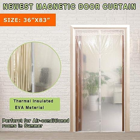 Cortina de invierno transparente, protector de puerta magnético con aislante térmico, cortina para puerta, disfrute del verano fresco y del cálido invierno, ...