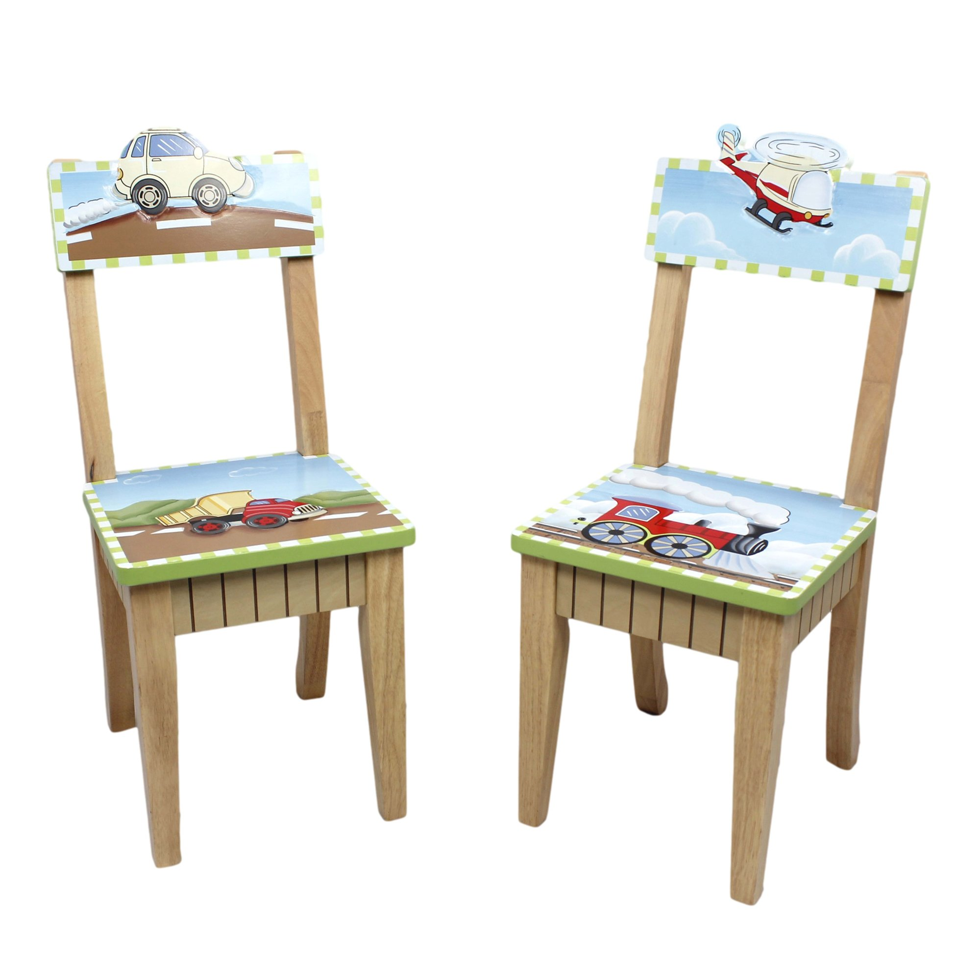 Fantasy Fields - Transportation Thematic Kids Wooden 2 Chairs Set |Imagination Inspiring Hand Crafted & Hand Painted Details   Non-Toxic, Lead Free Water-based Paint