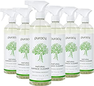 Puracy All Purpose Cleaner StreakFree Food Safe Natural Household MultiSurface Spray, 25 Fl Oz, Green Tea & Lime, 150 Ounce, (Pack of 6) (PMSC25CASE)
