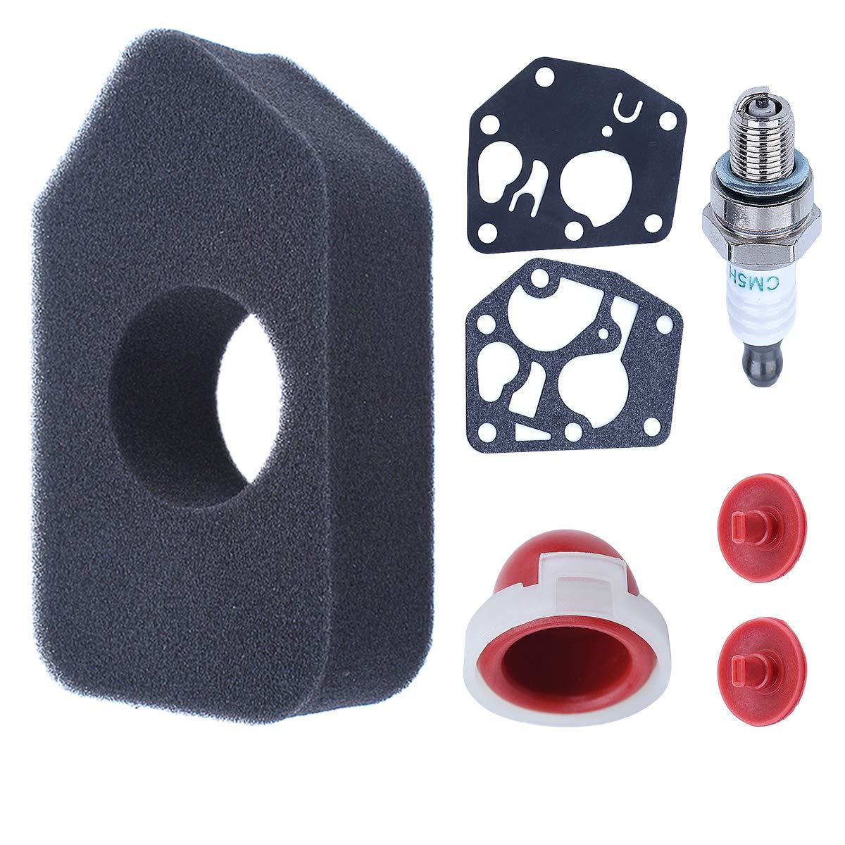Adefol Air Filter 698369 4216 5086K 5088 with Carburetor Diaphragm Gasket Primer Bulb Spark Plug for Briggs & Stratton 3.5-4.5 HP Classic Sprint Quattro Engine