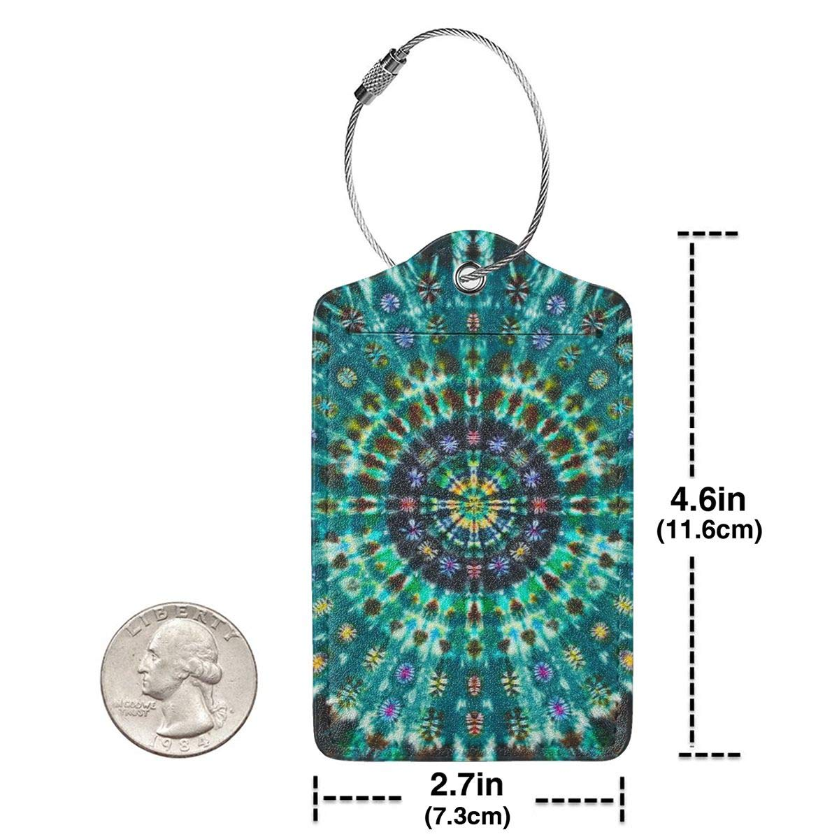 GoldK Mandalas Tie Dye Leather Luggage Tags Baggage Bag Instrument Tag Travel Labels Accessories with Privacy Cover