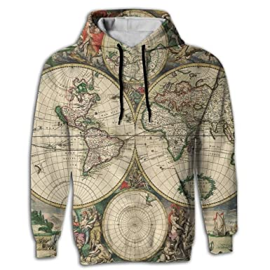50 retro world map unisex all over print pullover hoodie hooded 50 retro world map unisex 3d printed pullover hoodie hooded sweatshirt fricstar gumiabroncs Gallery