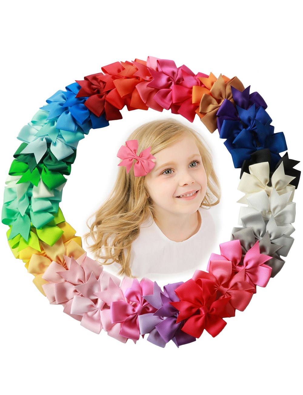 fani 40 Pcs 3 inch Grosgrain Ribbon Pinwheel Boutique Hair Bows Clips For Baby Girls Teens Toddlers Kids Children with 40 Colors