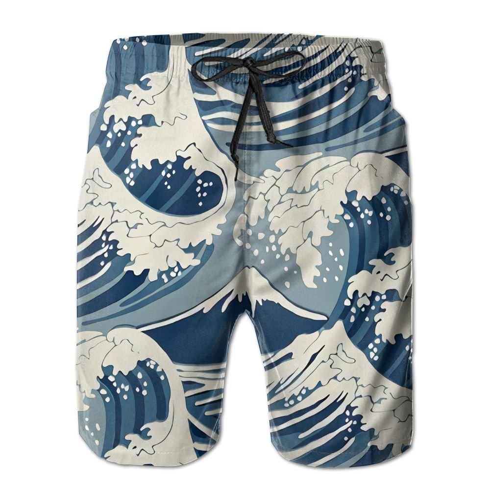Amazon.com: Doppyee Sea Wave Printing Mens Yoga Board Short ...