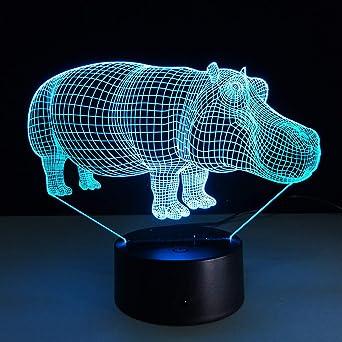 JYHW Lámpara 3D Interruptor táctil Banco de energía Mesa de luz 3D ...