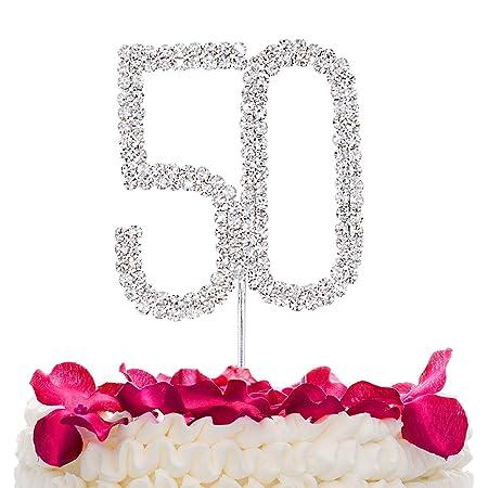STONCEL Decoración para tarta de cumpleaños con los números 25, 50 y 60 de brillantes de imitación plateados (número 50)